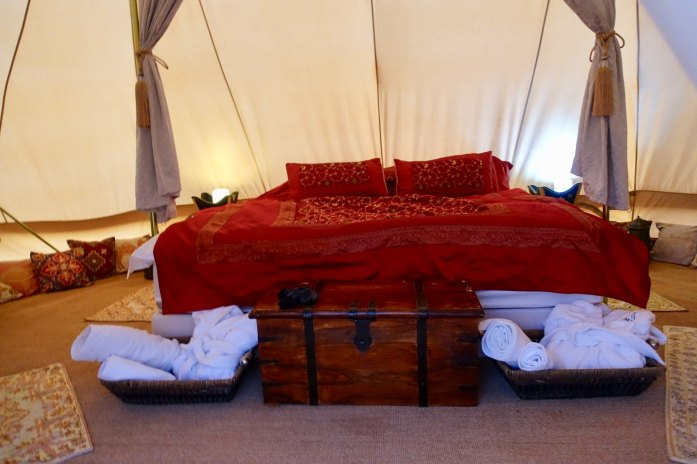 They have fine-made tents from Belgium, kitted out with antique Omani Bedouin touches. But the ornate fabrics hide the posh beds and sheets underneath — the same beds as the Ritz-Carlton uses… out here in the middle of the desert! I slept like dead cat.