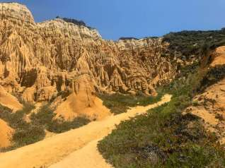 You walk through the craziest organ pipe formation called Fossil da Galé down to the beach. You have to wipe your eyes from all the ochres and oranges.