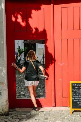 Lisbon red doorway Castelo S. Jorge