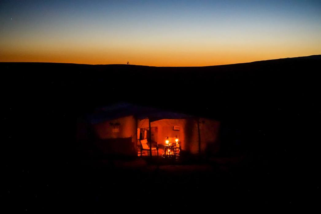 Dar Ahlam tent candles in twilight