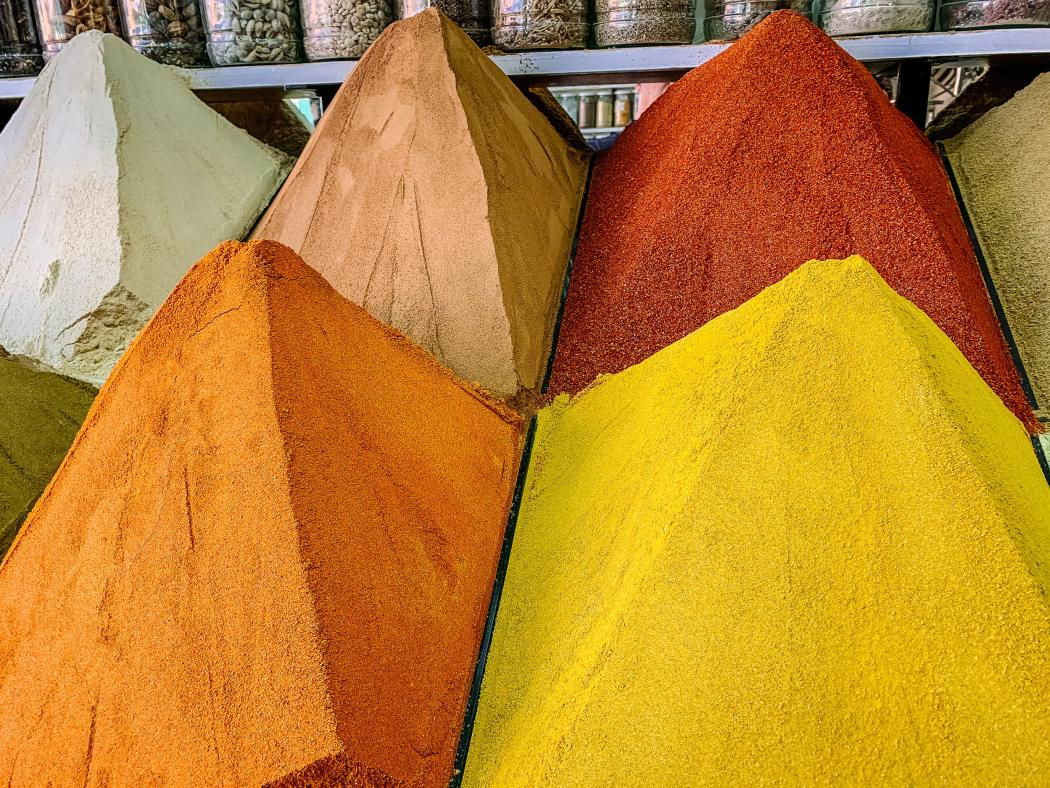 Spice piles in Marrakesh souk