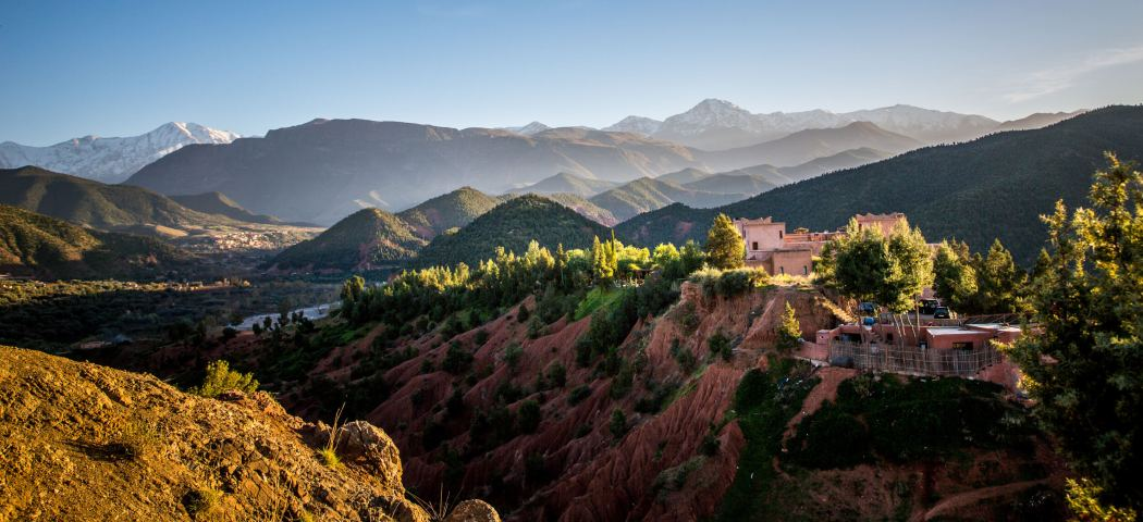 View of Kasbah Bab Ourika at sunset