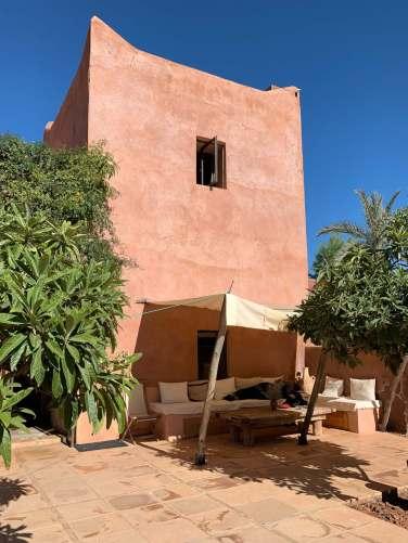 shaded lounge area Kasbah Bab Ourika