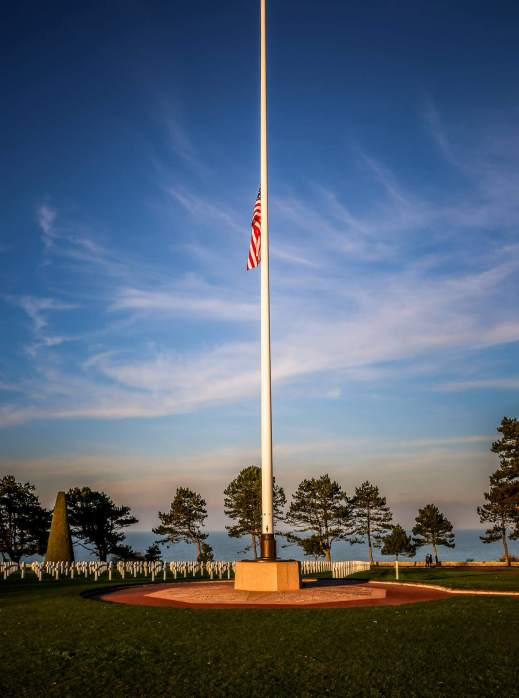 Normandy American Cemetery sunset flag lowering