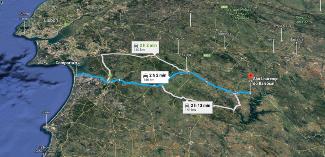 Driving directions Comporta to Sao Lourenco