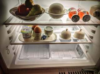 And comes with a stocked fridge for breakfast in your room.