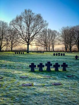 German Cemetery Normandy morning frost