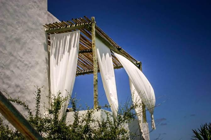Posada del Faro terrace drapes