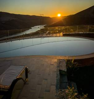 Vila Gale Douro pool at sunrise