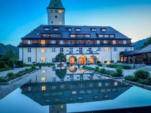 Schloss Elmau luxury spa reflecting pool