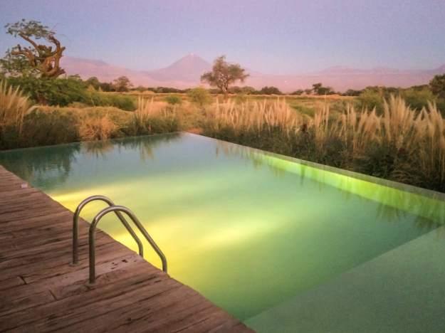 pool at dusk Tierra Atacama