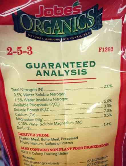 organic fertilizer guaranteed analysis