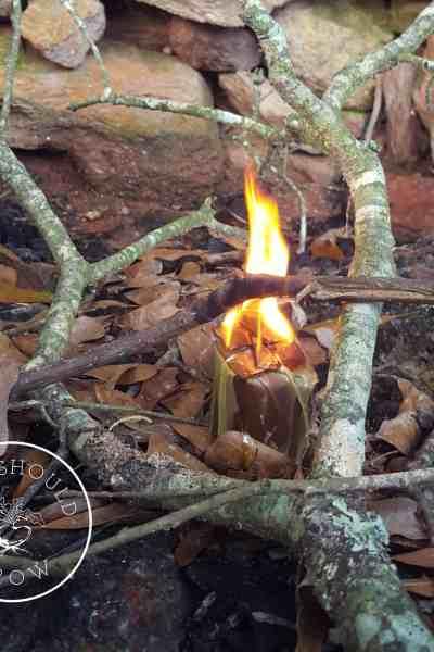 Fire starter on fire
