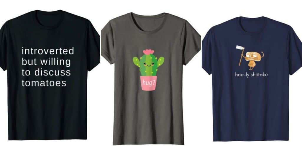 funny gardening shirts collage