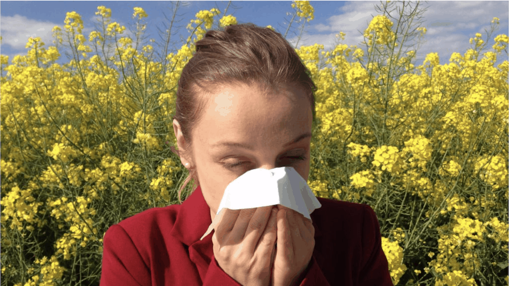 Girl with seasonal allergies sneezes