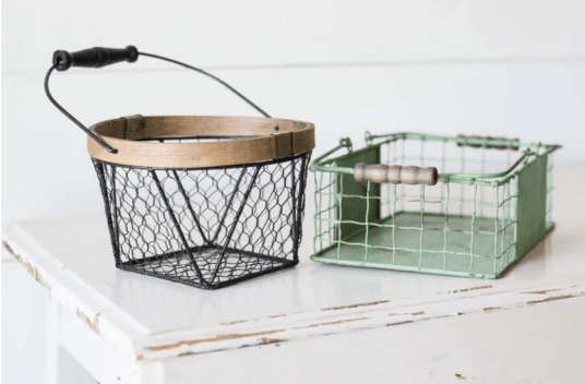 wire baskets on a white table