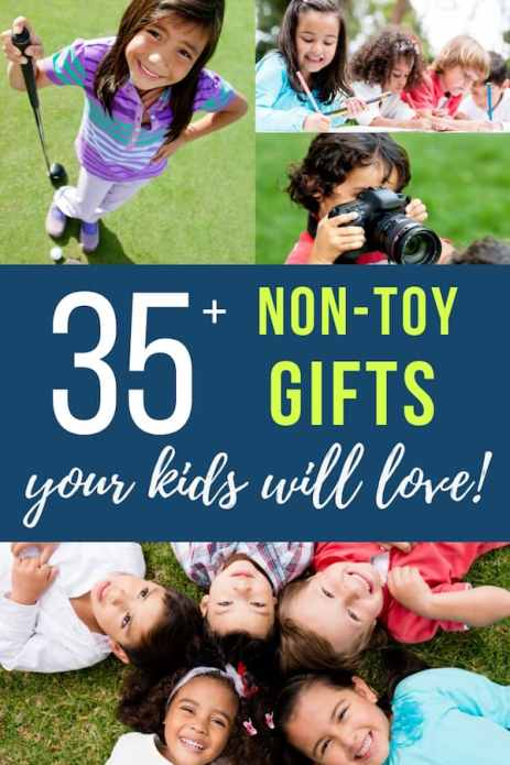 35+ non-toy gifts your kids will love. Collage of kids playing games