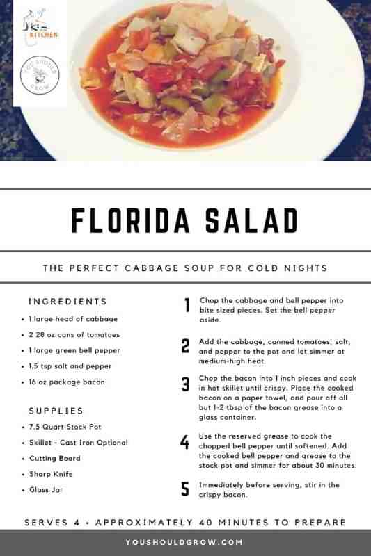Florida Salad. Cabbage soup recipe printable