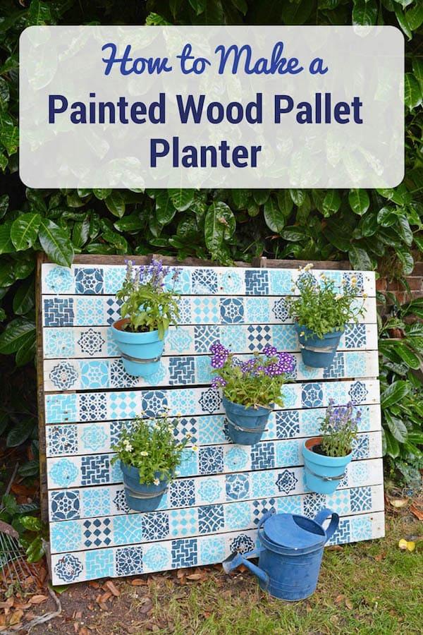 Painted wood pallet planter for diy vertical garden.