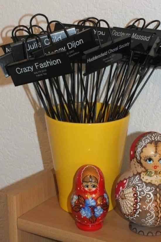 Garden markers: Black metal stakes with labels