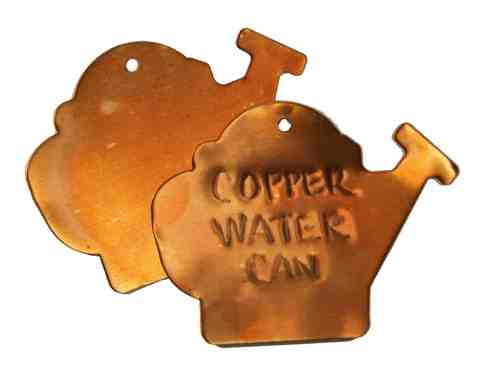 copper watering can plant tags