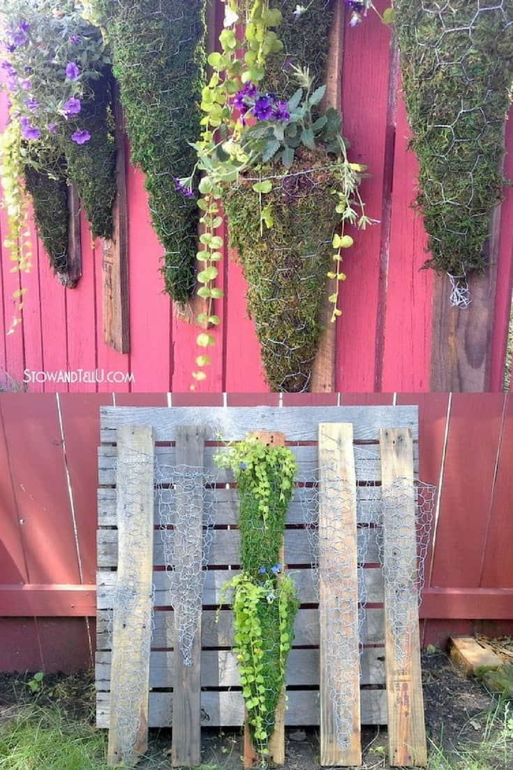 diy vertical garden made from chicken wire