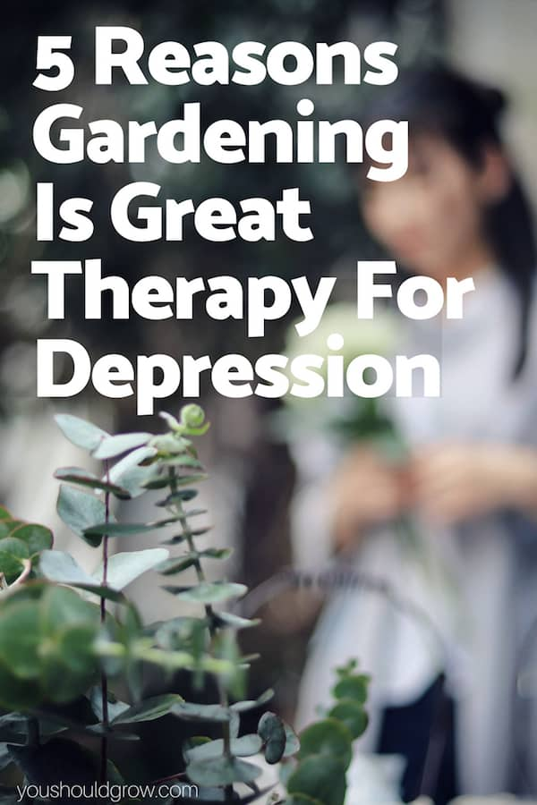 5 reasons gardening is great therapy for depression text in white on image of woman in the garden