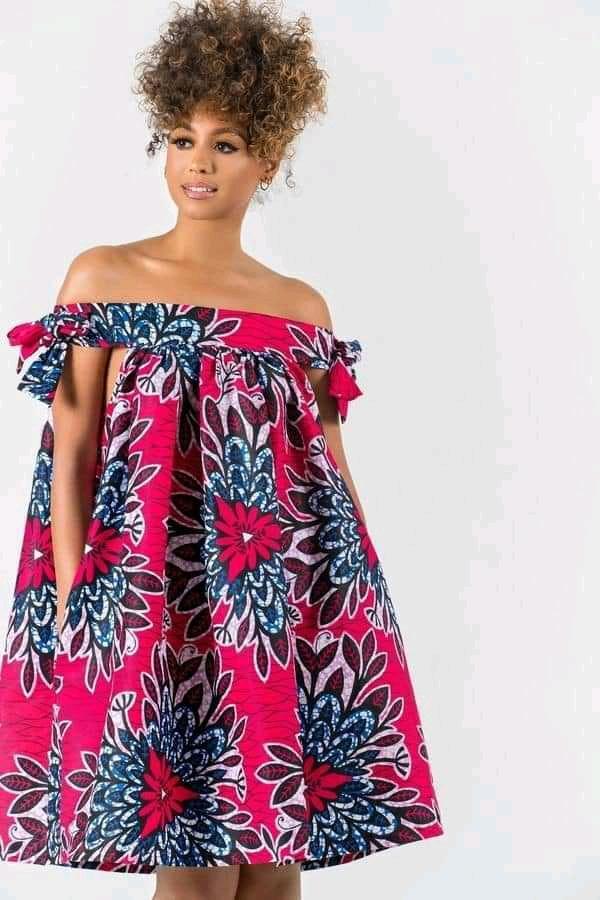 off shoulder Ankara crop gown styles