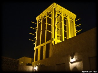 Wind towers at night