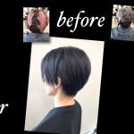 名古屋塩釜口でブリーチベースからダブルカラーでネイビーアッシュカラーが色持ち抜群【たかこさん】の髪色