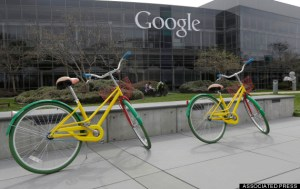 Google bicycles are shown at the Google campus in Mountain View, Calif., Friday, March 15, 2013. Companies say extraordinary campuses are a necessity, to recruit and retain top talent, and to spark innovation and creativity in the workplace. And there are business benefits and financial results for companies that keep their workers happy. (AP Photo/Jeff Chiu)