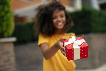 Young woman with gift