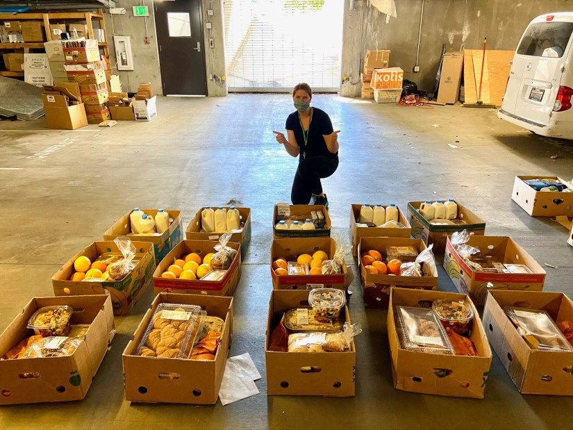boxes of food in basement