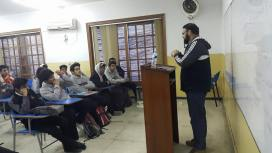 A motivational talk at a college in progress