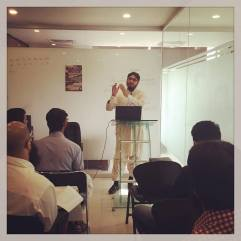 A regular class of Usool ul Fiqh in progress for the team at the YC office