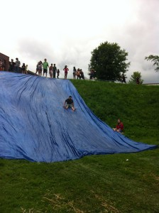 Youth farmers love the water slide!