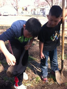 Payton and Maxwell dig for worms in the dirt.