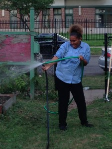 E-Don enjoying a goofier moment watering with a broken hose on a hot August night