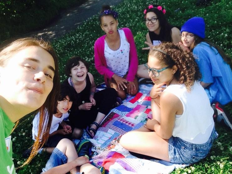 Yasmin, Asuka, Ally, Ava, Symbri, Jazmine, and Isabelle ready for lunch
