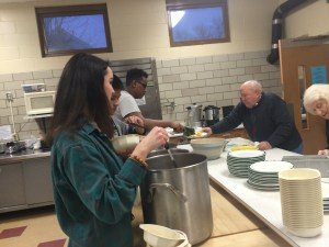 Project LEAD serve a community meal to members of Saint Stephanus Lutheran Church for the kickoff class.