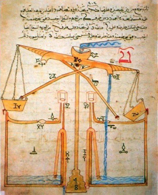 جميع آلات رفع الماء المعقدة قبل تصميم الجزري لها كانت تدور بقوة دفع الحيوانات، وليس بقوة الماء
