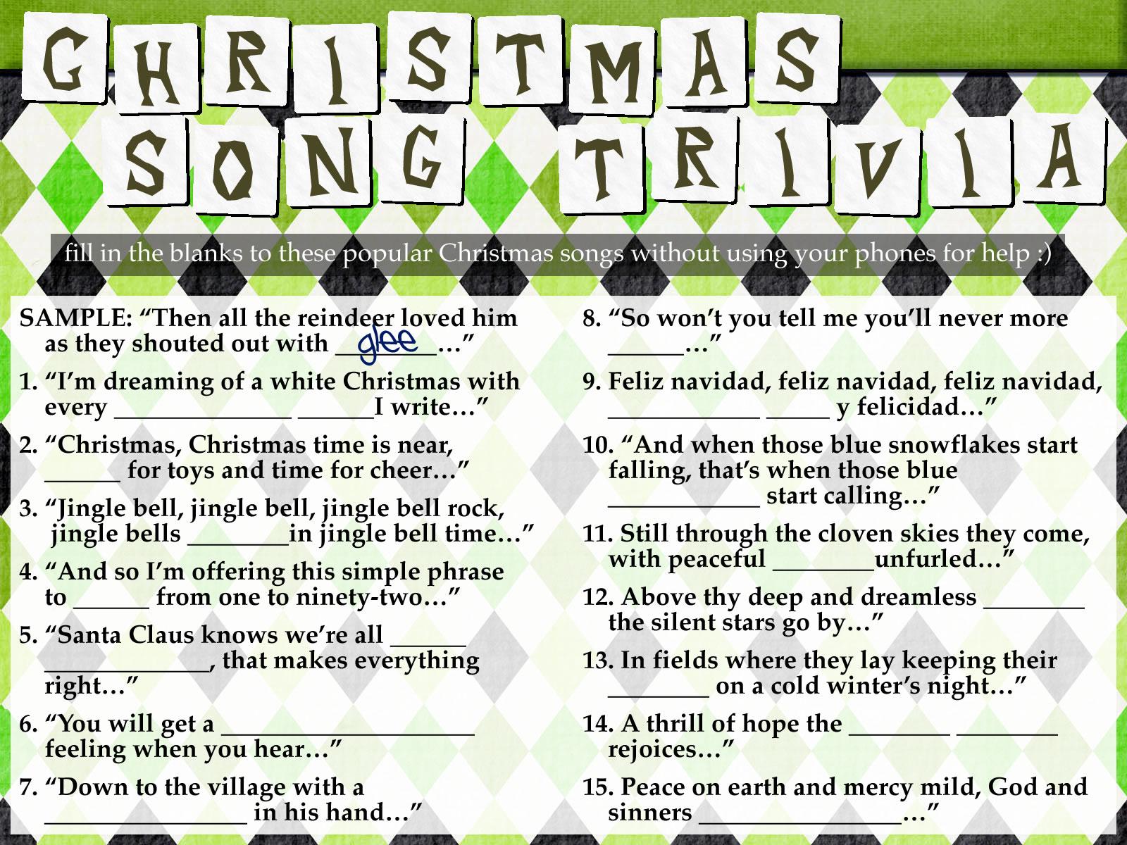 Freebie Christmas Song Trivia