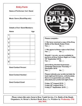 Bray BotB Entry Form