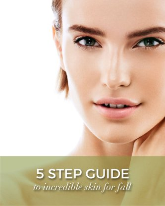 A women with great skin looking into the camera, green overlay on the bottom saying 5 step guide