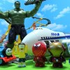 Thomas and Spider-Man Doraemon get away from Hulk who broke the track!for kids!yupyon