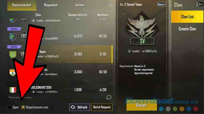 Join clan in pubg
