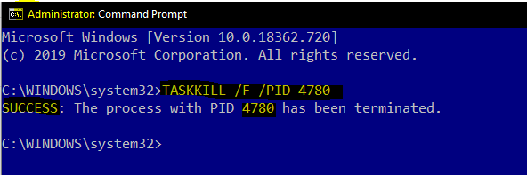 taskkill-success-administrator-access