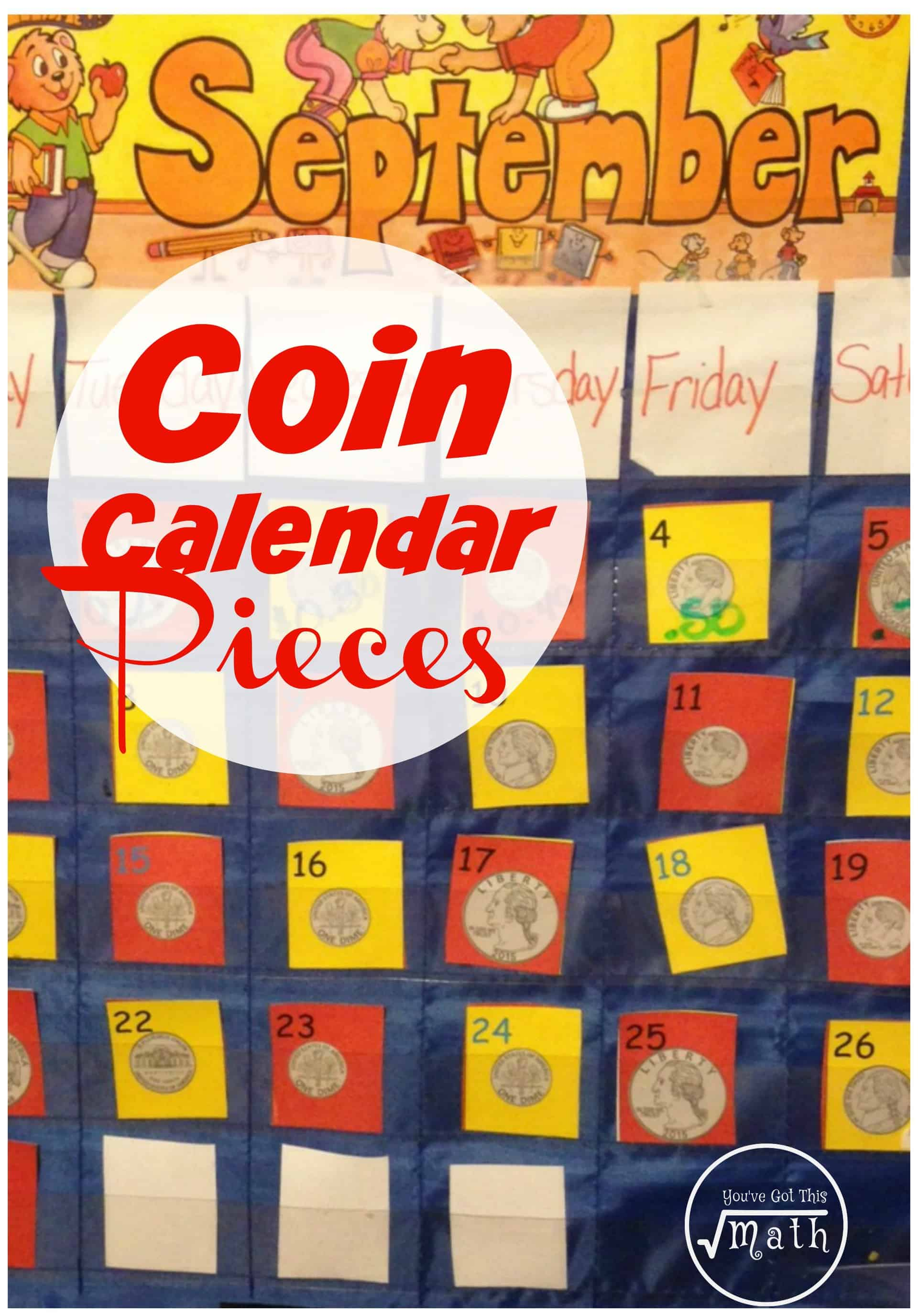Work on coin identification, counting money, and patterns with these colorful calendar pieces for elementary students in first and second grade.