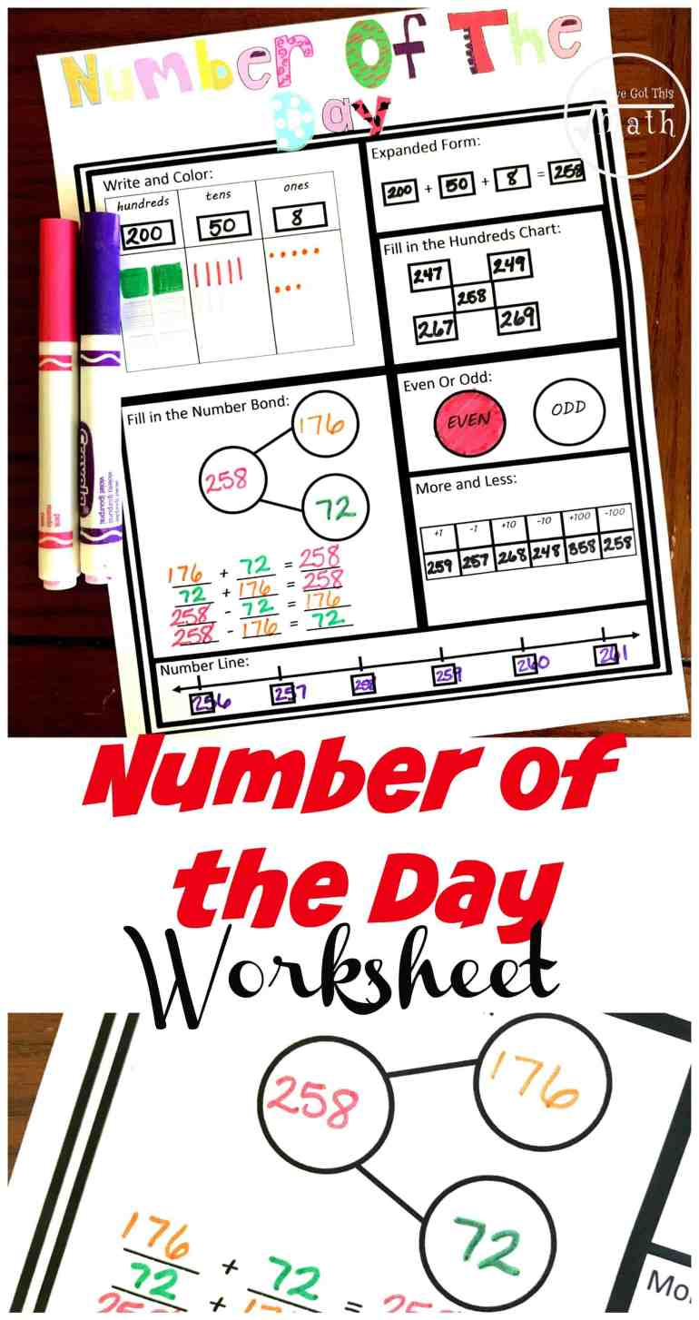 This number of the day worksheet has children working on a hundreds chart, coloring in base ten blocks, filling in number lines, writing a number in expanded form and more.