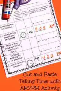 cut and paste telling time